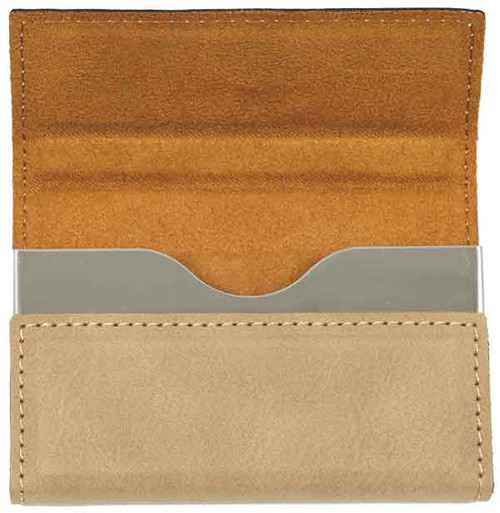 "3 3/4"" X 2 3/4"" Light Brown Laserable Leatherette Hard Business Card Holder"