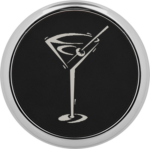 "3 5/8"" Round Black/Silver Laserable Leatherette Coaster W/ Silver Edge (Set Of 4)"