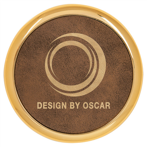 """3 5/8"""" Round Rustic/Gold Laserable Leatherette Coaster W/ Gold Edge  (Set Of 4)"""