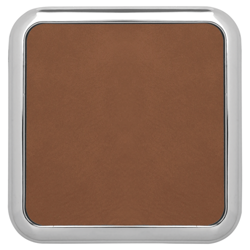 """3 5/8"""" X 3 5/8"""" Square Dark Browh Laserable Leatherette Coaster W/Silver Edge (Set Of 4)"""