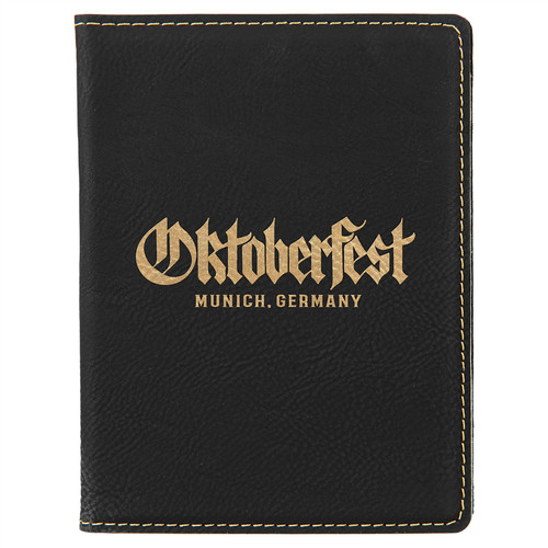 "4 1/4"" X 5 1/2"" Black/Gold Laserable Leatherette Passport Holder"