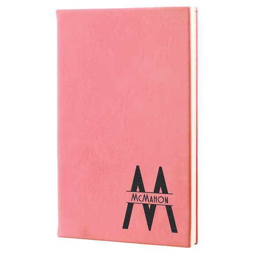 """5 1/4"""" X 8 1/4"""" Pink Laserable Leatherette Journal"""