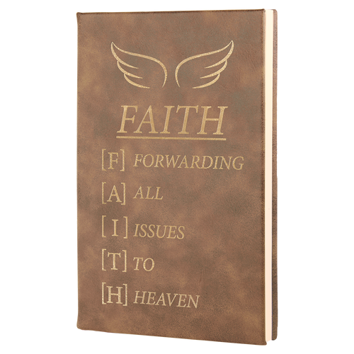 """5 1/4"""" X 8 1/4"""" Rustic/Gold Laserable Leatherette Journal"""