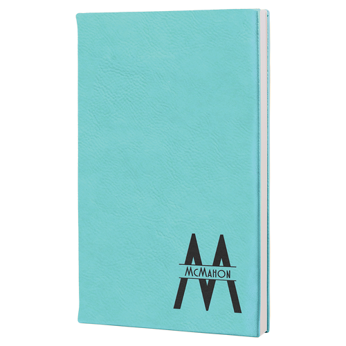 """5 1/4"""" X 8 1/4"""" Teal Laserable Leatherette Journal"""