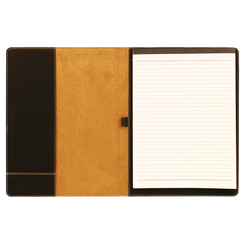 """7"""" X 9"""" Black/Gold Laserable Leatherette Small Portfolio With Notepad"""