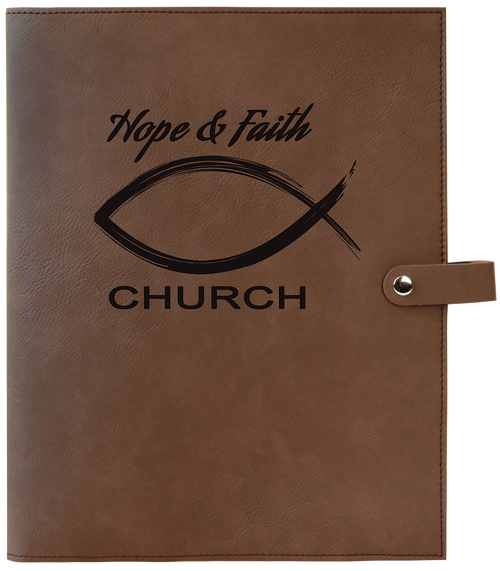 """8 3/4"""" X 11"""" Dark Brown Leatherette Book/Bible Cover With Snap Closure"""