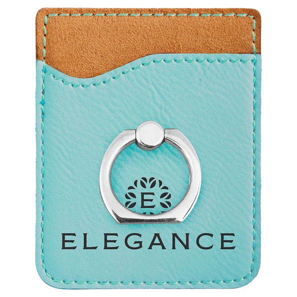 Teal Laserable Leatherette Phone Wallet With Silverr Ring