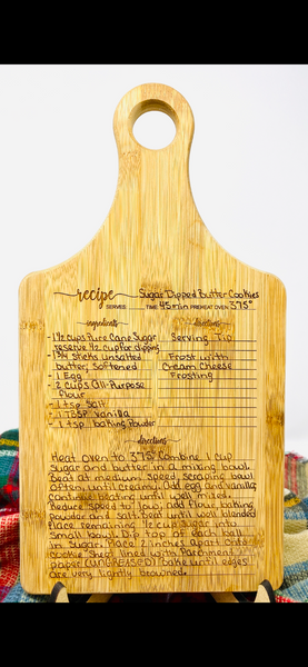 EXTRA CLEAN UP Custom Recipe Bamboo Paddle Shape Cutting Board / W Cleanup