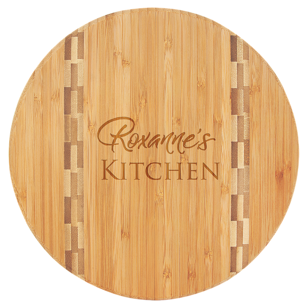 """9.75""""Round Bamboo Cut Board with Hand Written Note"""