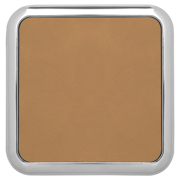 """3 5/8"""" X 3 5/8"""" Square Light Brown Laserable Leatherette Coaster W/Silver Edge (Set Of 4)"""