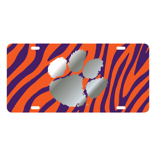 Clemson Tigers Tag (Tiger Background with Mirror Logo (14255))