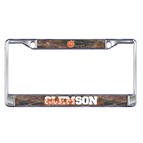 Clemson Tigers Plate Frame (DOMED CAMO CLE PLATE FRAME (14139))
