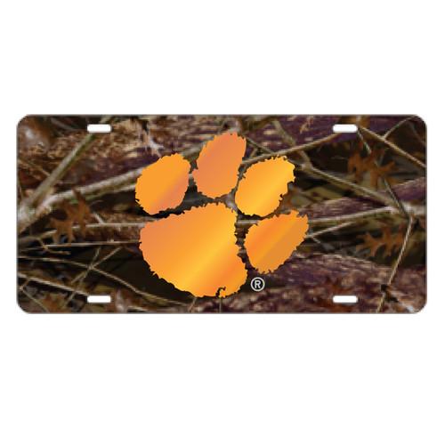 Clemson Tigers Tag (Camo Acrylic with Orange Mirror Logo (14134))