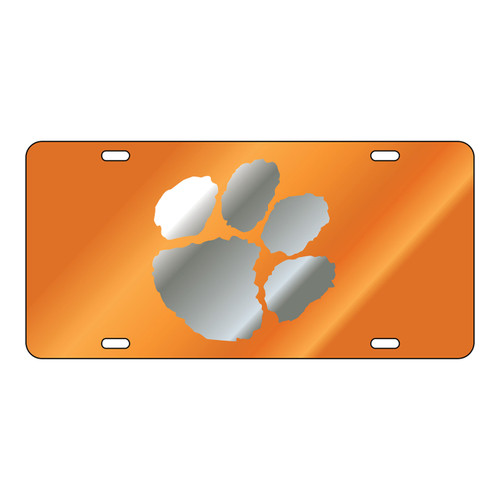 Clemson Tigers Tag (Orange Mirror Acrylic with Mirror Acrylic Logo (14051))