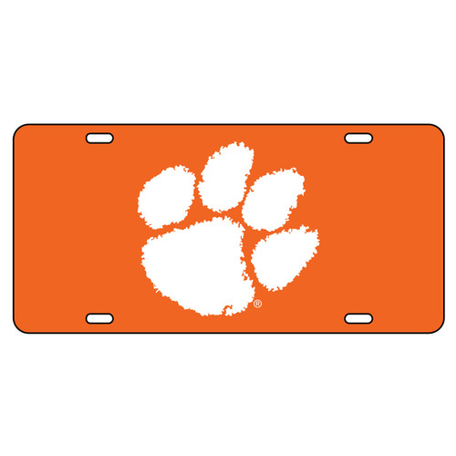 Clemson Tigers Tag (Orange Acrylic with Reflective Logo Decal (14009))