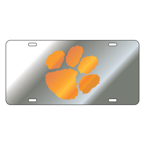 Clemson Tigers Tag (LASER SIL/ORG PAW (14050))