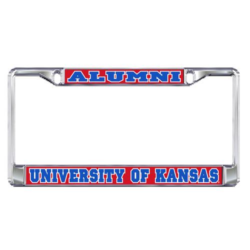 Kansas Plate Frame (DOMED KS ALUMNI METAL PLT FRAM (19096))