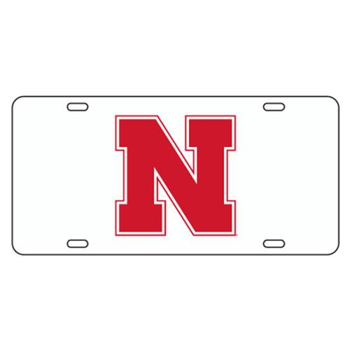 Nebraska TAG (WHITE REFL. RED N (27015))