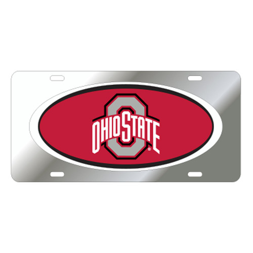 Ohio State University Tags (Mirror Acrylic With Red Domed Logo (48071))