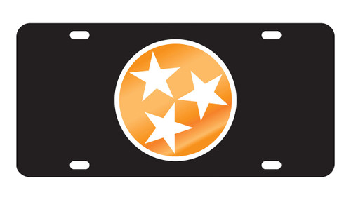 University of Tennessee Tags (Black Acrylic with Orange Mirror/White Acrylc Logo (99562))