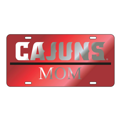 Louisiana-Lafayette Tag (LASER RED/SIL CAJUNS MOM TAG (45003))