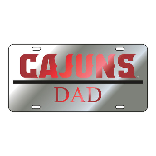 Louisiana-Lafayette Tag (LASER SIL/RED CAJUNS DAD TAG (45006))