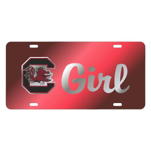 South Carolina TAG (LASER RED/SIL GAMECOCK GIRL (31151))