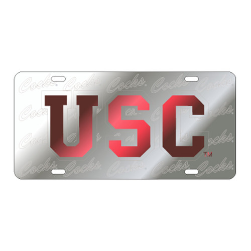 South Carolina TAG (LASER USC SATIN SYMBOL COCKS (31132))