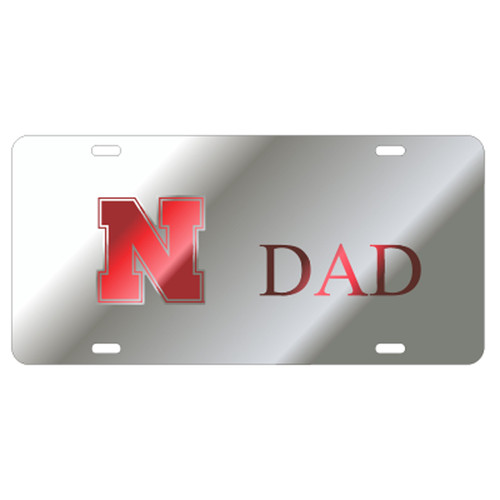 Nebraska TAG (LASER SIL/RED N HUSKERS DAD (27225))