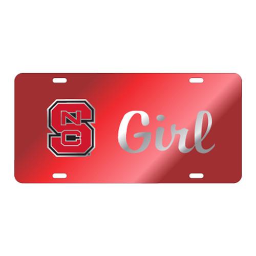 North Carolina State TAG (LASER RED/SIL BLOCK NCS GIRL (26206))
