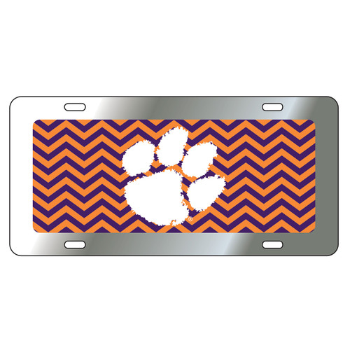 Clemson Tigers Tag (Mirror Acrylic with Reflective Logo Decal (14257))