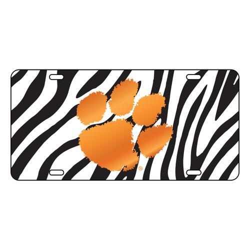Clemson Tigers Tag (Zibra Background with Orange Mirror Logo (14254))