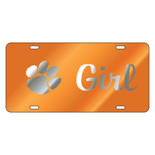 Clemson Tigers Tag (orange Mirror Acrylic with Mirror Acrylic Logo (14220))