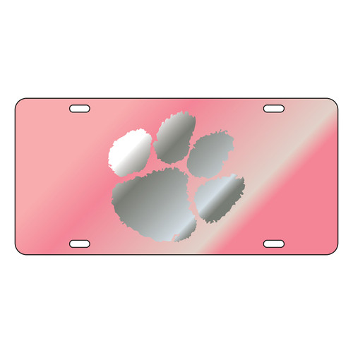 Clemson Tigers Tag (Pink Mirror Acrylic with Mirror Acrylic Logo (14133))