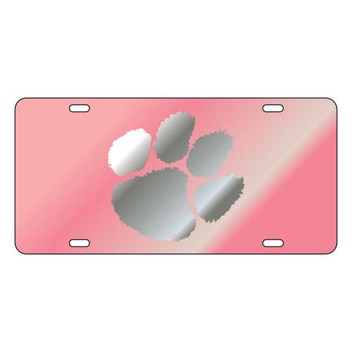 Clemson Tigers Tag (Pink Mirror Acrylic with Mirror Acrylic Logo (14133))