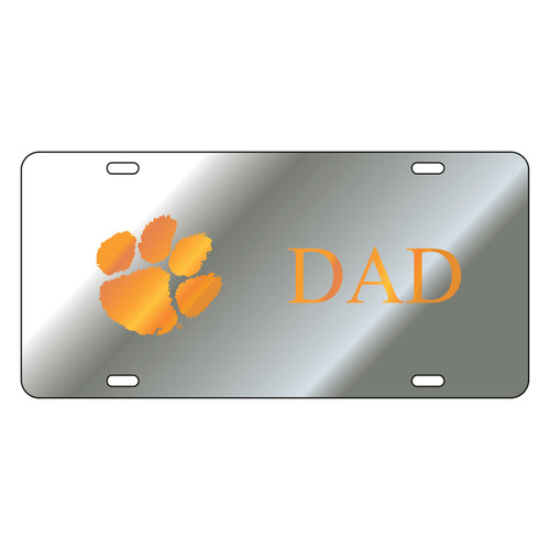 Clemson Tigers Tag (Mirror Acrylic with Orange Mirror Acrylic Logo (14224))