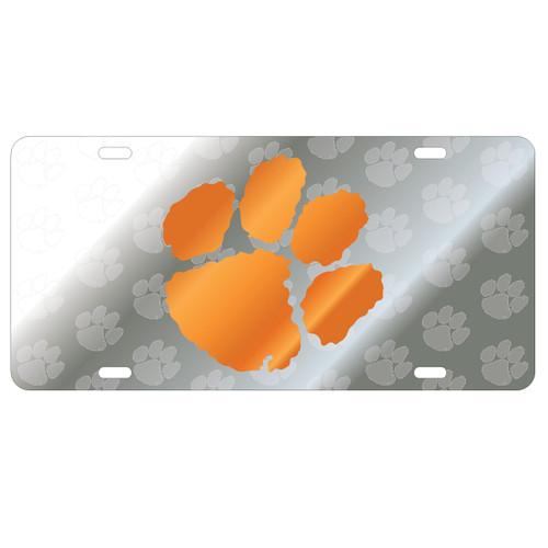 Clemson Tigers Tag (Mirror Acrylic Symbol Background with Orange Mirror Logo (14120))