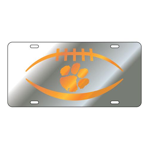 Clemson Tigers Tag (Mirror Acrylic with Orange Mirror Acrylic Logo (14124))
