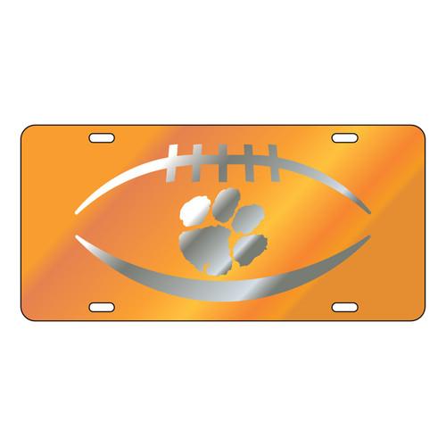 Clemson Tigers Tag (Orange Mirror Acrylic with Mirror Acrylic Logo (14125))