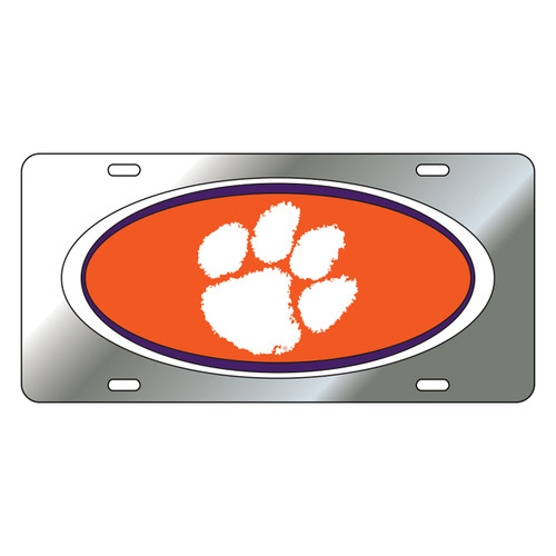 Clemson Tigers Tag (Mirror Acrylic with Domed Logo (14118))
