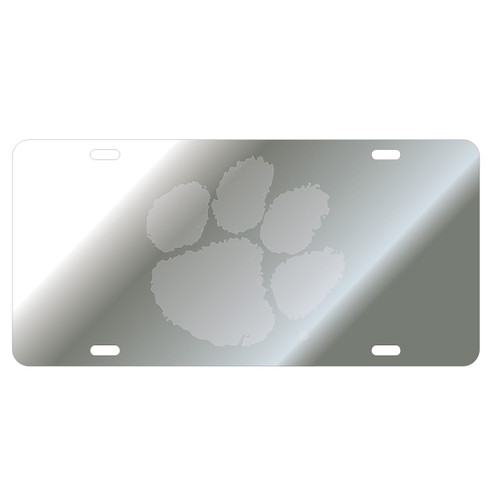 Clemson Tigers Tag (Mirror Acrylic Symbol Background with Mirror Logo (14114))