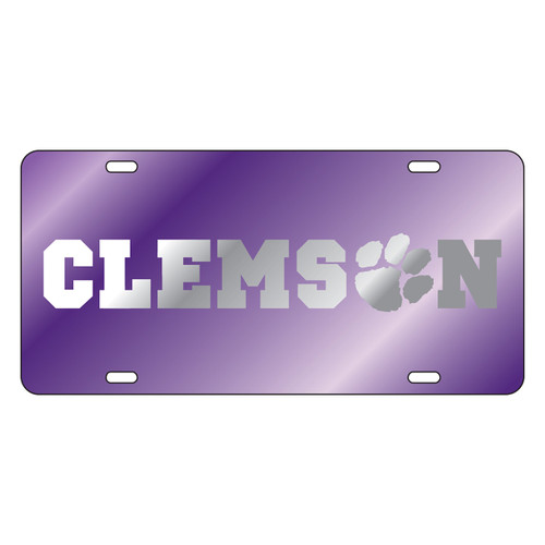 Clemson Tigers Tag (Purple Mirror Acrylic with Mirror Logo (14056))