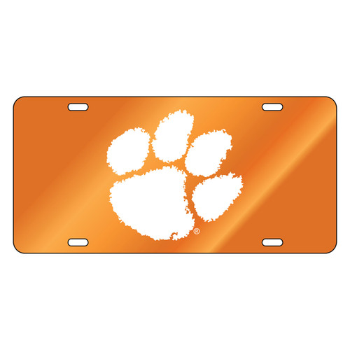Clemson Tigers Tag (Orange Mirror Acrylic with Reflective Logo Decal (14005))