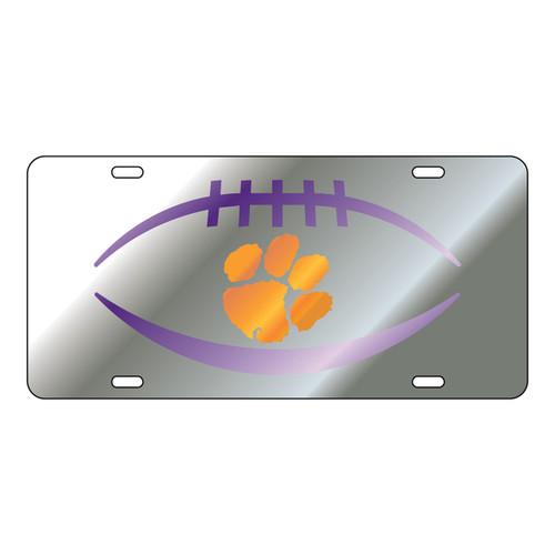 Clemson Tigers Tag (Mirror Acrylic with Orange/Purple Mirror Acrylic Logo (14104))