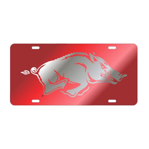 Arkansas Razorbacks TAG (LASER RED/SIL RUNNING HOG (11015))