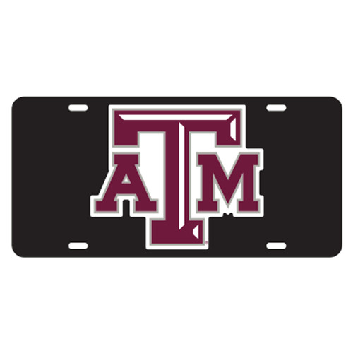 Texas A&M University Tags (Black Acrylic with Reflective Logo Decal (10210))