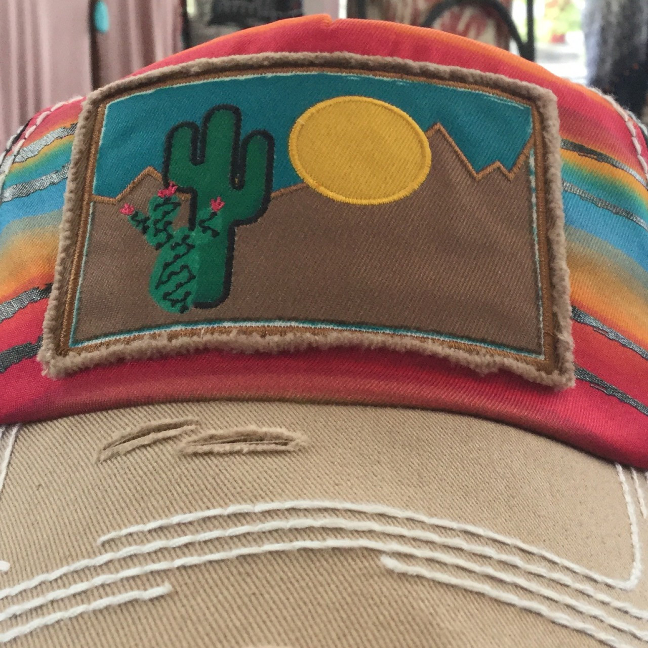 45422c1692994 Catchfly Sarape Cap with Sun   Cactus Patch - Hippy Cowgirl
