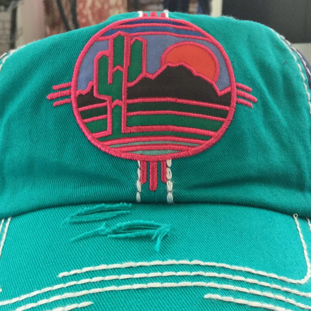 9938de2255b Catchfly Multi Colored Embroidered Patch w  Sunset   Cactus - Hippy Cowgirl