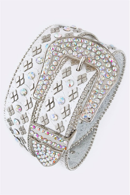 White Snake Skin Bling Belt