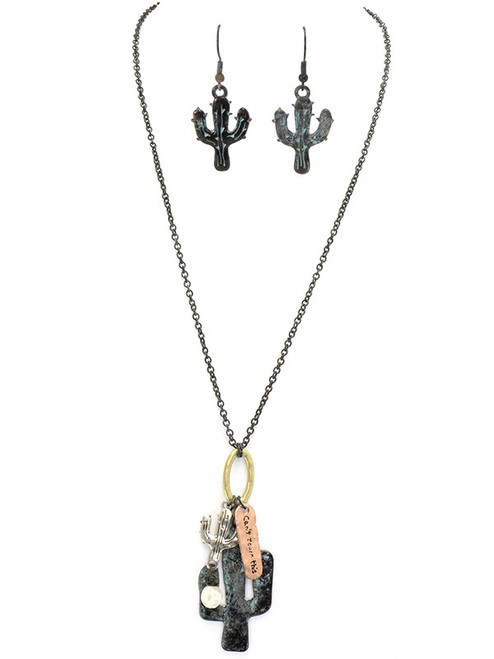 Metal Cactus Charm Necklace & Earring Set